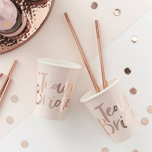 Hen Party Team Bride Rose Gold Foiled Paper Cup 260ml - Pack of 8