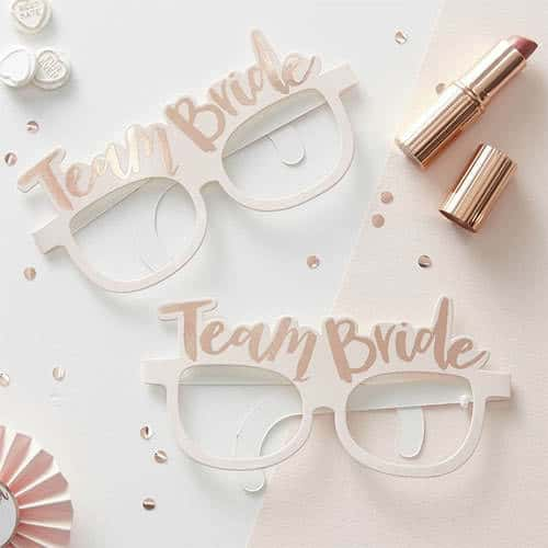 Hen Party Team Bride Rose Gold Foiled Paper Glasses - Pack of 8