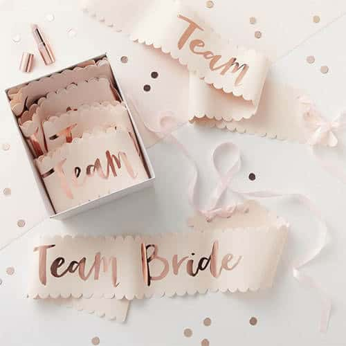 Hen Party Team Bride Rose Gold Foiled Paper Sashes - Pack of 6