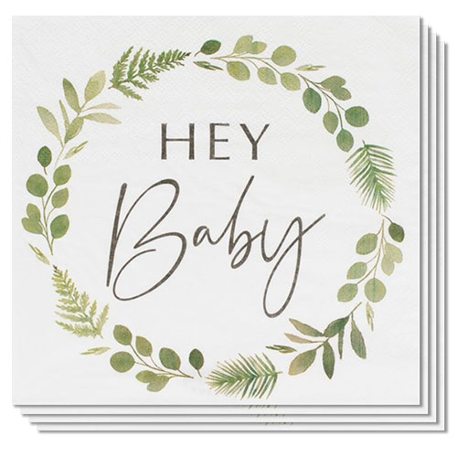 Botanical Hey Baby Luncheon Napkins 33cm - Pack of 16 Product Gallery Image