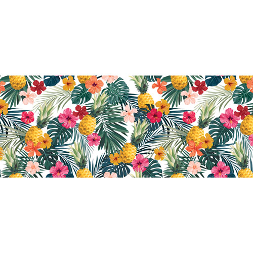 Hibiscus Flowers & Pineapples PVC Party Sign Decoration 60cm x 25cm