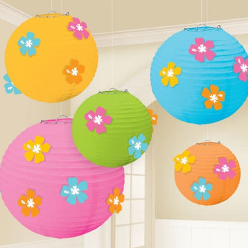 Hibiscus Paper Lanterns Pack Of 5