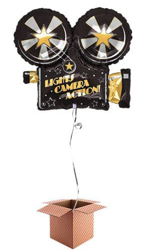 Hollywood Camera Helium Foil Giant Balloon - Inflated Balloon in a Box