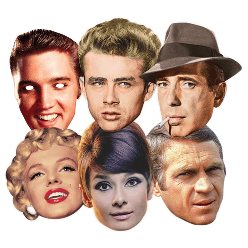 Hollywood Celebrities Cardboard Face Masks - Pack of 6