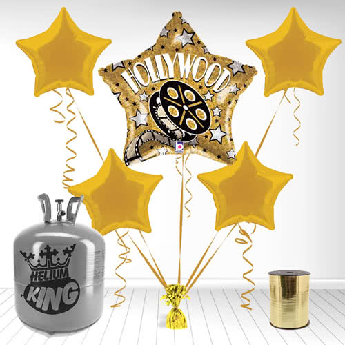 Hollywood Theme Holographic Foil Balloon and Helium Gas Package Product Image