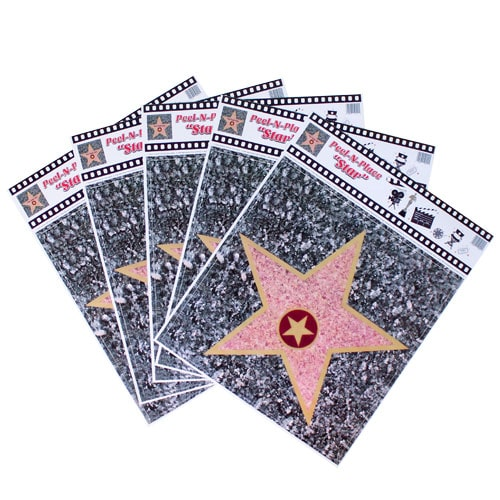 Hollywood Walk of Fame Star Peel And Place Floor Stickers - Pack of 5