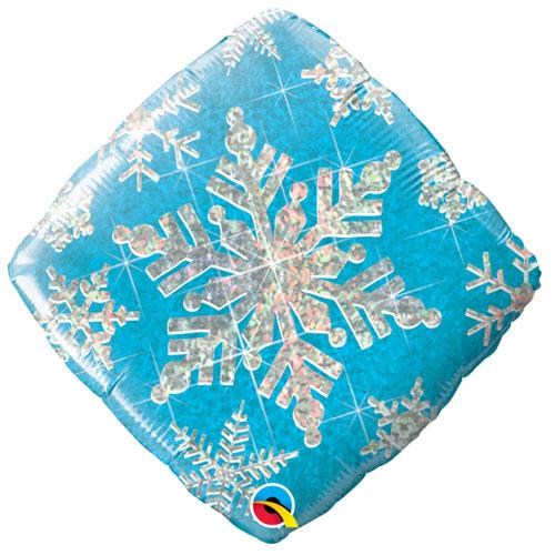 Blue Snowflake Holographic Diamond Shape Christmas Foil Helium Qualatex Balloon 46cm / 18 in Product Image