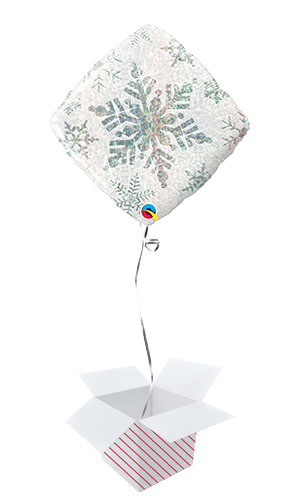 White Snowflake Holographic Diamond Shape Christmas Foil Helium Qualatex Balloon - Inflated Balloon in a Box Product Image