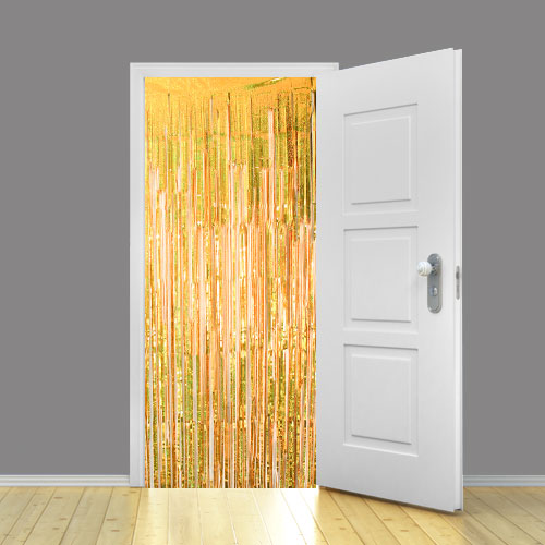 Holographic Gold Metallic Shimmer Curtain 95cm x 200cm - Pack of 25 Product Image