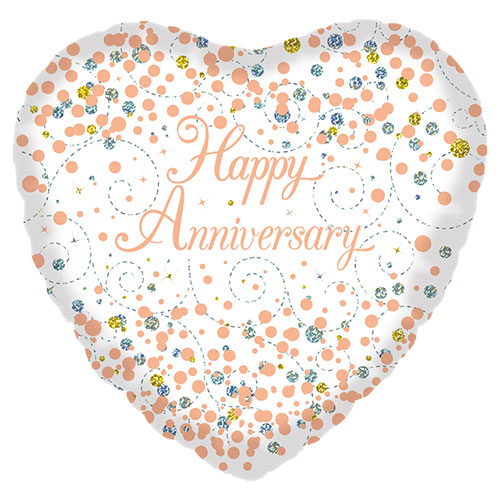 Holographic Rose Gold Happy Anniversary Heart Shape Foil Helium Balloon 46cm / 18 in Product Image