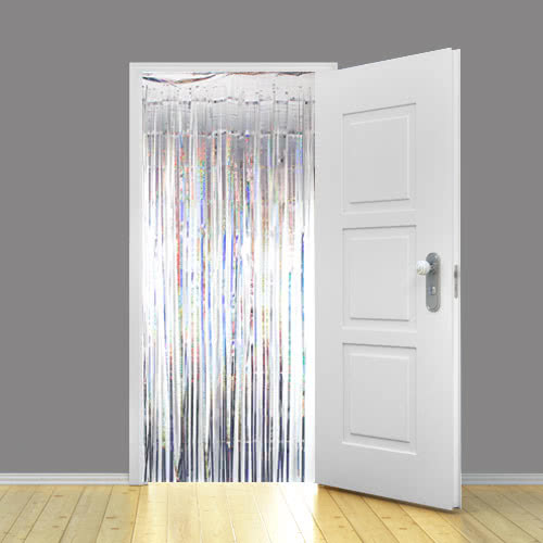 Holographic Silver Metallic Shimmer Curtain 92 x 244cm - Pack of 10
