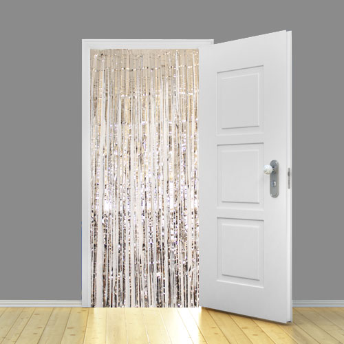 Holographic Silver Metallic Shimmer Curtain 95cm x 200cm