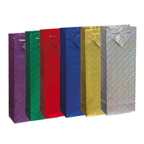 Assorted Christmas Holographic Bottle Gift Bag 36cm Product Image