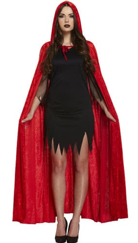 Hooded Red Velvet Cape Adults Fancy Dress Costume Product Image