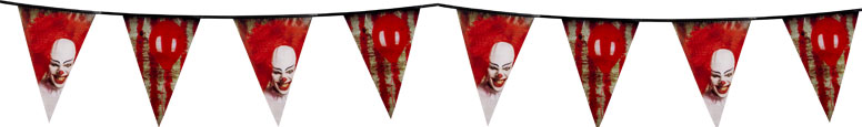 Horror Clown Halloween Plastic Pennant Bunting 6m