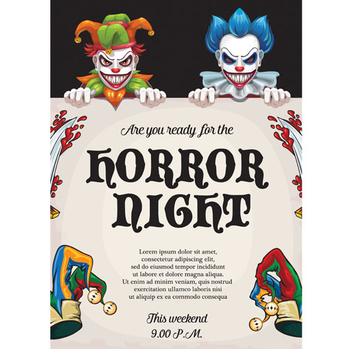 Horror Night Clowns Halloween A3 Poster PVC Party Sign Decoration 42cm x 30cm Product Gallery Image