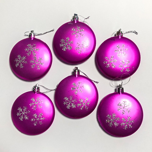 Hot Pink Baubles Hanging Tree Trims Christmas Decorations - Pack of 6