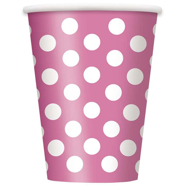 Hot Pink Decorative Dots Paper Cups 354ml - Pack of 6 Bundle Product Image