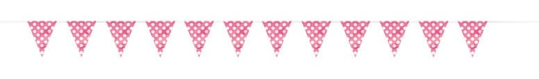 Hot Pink Decorative Dots Bunting - 12 Ft / 3.65m