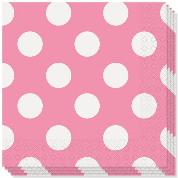 Hot Pink Decorative Dots 2 Ply Luncheon Napkins - 13 Inches / 33cm - Pack of 16 Bundle Product Image