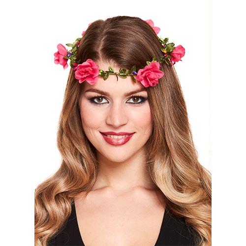 Hot Pink Flowers Headband Fancy Dress Product Image