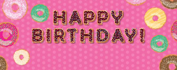 Hot Pink Happy Birthday Donuts Design Medium Personalised Banner - 6ft x 2.25ft
