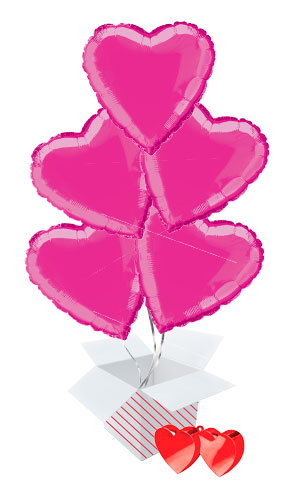 Hot Pink Heart Foil Helium Valentine's Day Balloon Bouquet - 5 Inflated Balloons In A Box Product Image