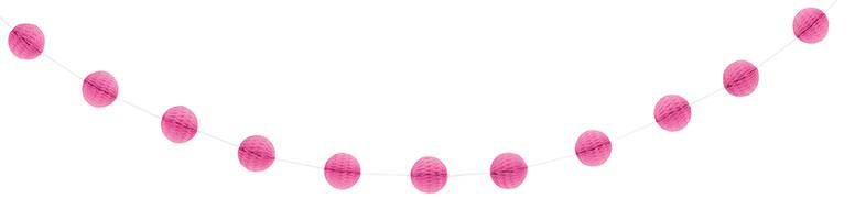 Hot Pink Honeycomb Ball Garland - 213cm