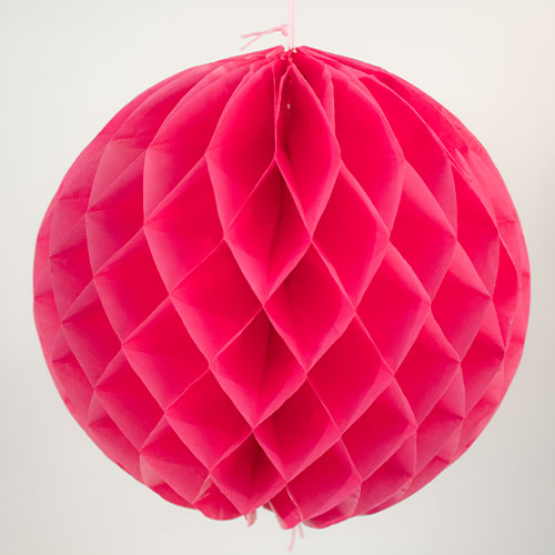 Hot Pink Honeycomb Ball Hanging Decorations - Pack of 2 Product Image