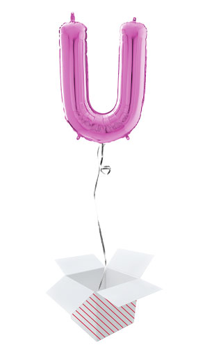 Hot Pink Letter U Helium Foil Giant Balloon - Inflated Balloon in a Box Product Image