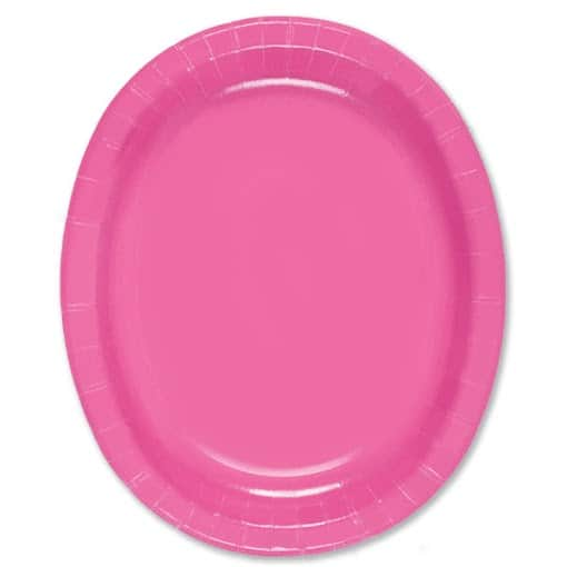 Hot Pink Oval Paper Plates 30cm - Pack of 8