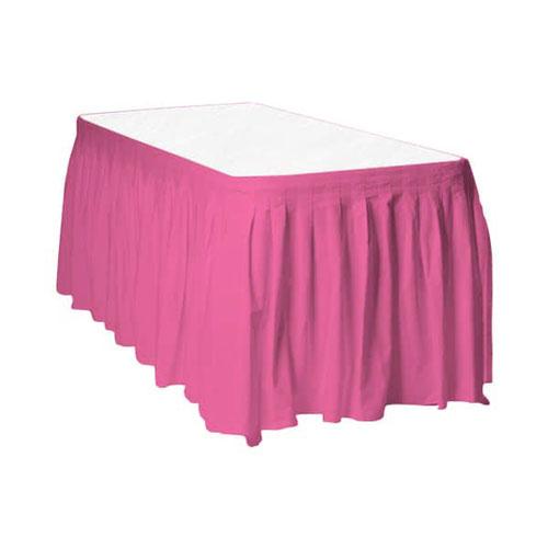 Hot Pink Plastic Table Skirt - 426cm x 74cm