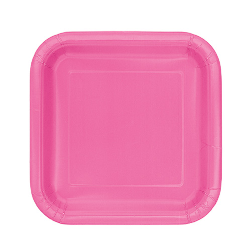 Hot Pink Square Paper Plates 17cm - Pack of 16