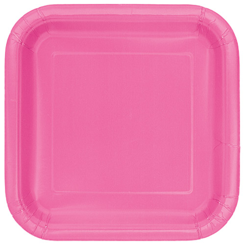 Hot Pink Square Paper Plates 22cm - Pack of 14