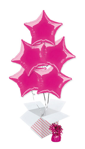 Hot Pink Star Foil Helium Balloon Bouquet - 5 Inflated Balloons In A Box Product Image