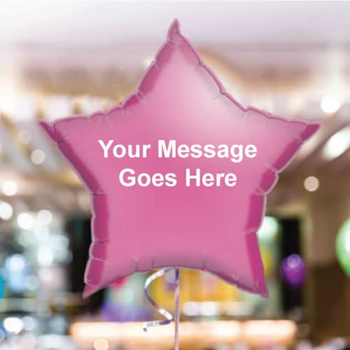 Personalised Hot-Pink Star Foil Balloon - Pack of 10