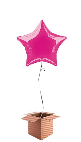 Hot Pink Star Shape Foil Balloon - Inflated Balloon in a Box Product Image