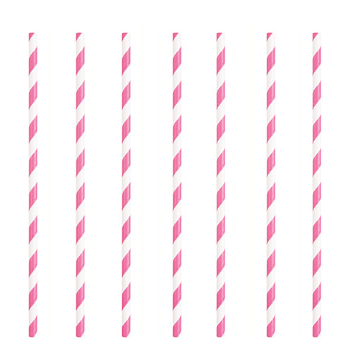 Hot Pink Striped Eco-Friendly Paper Straws - Pack of 10 Product Image