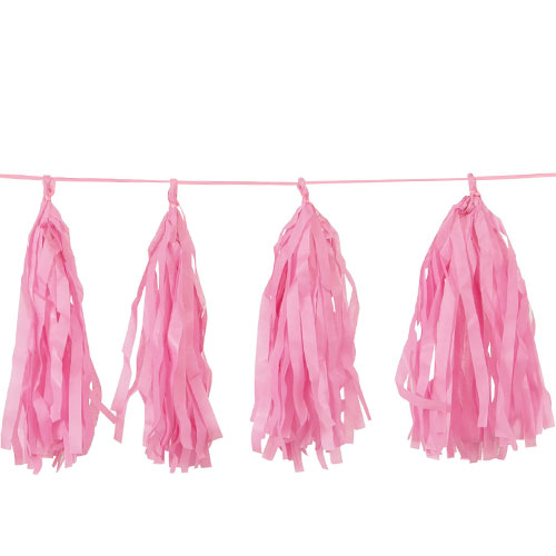 Hot Pink Tissue Tassel Garland 274cm Product Image