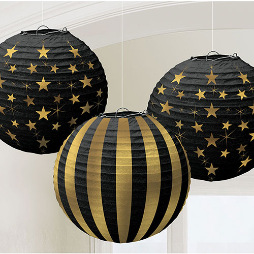 Hot Stamp Gold Glitz Paper Lanterns Hanging Decorations 24cm - Pack of 3 Product Image