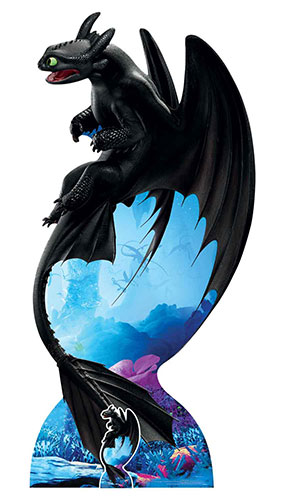 How To Train Your Dragon 3 Toothless Night Fury Soars Lifesize Cardboard Cutout 194cm Product Image
