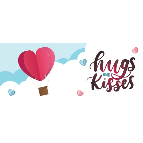 Hugs And Kisses Hot Air Balloon Valentine's Day PVC Party Sign Decoration 60cm x 25cm Product Image