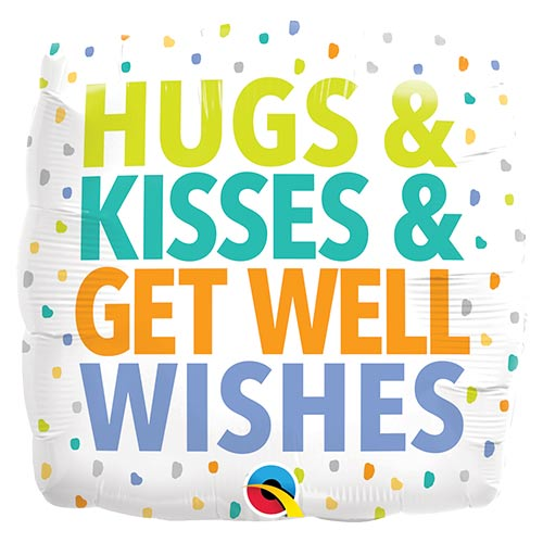 Hugs Kisses Get Well Wishes Square Foil Helium Qualatex Balloon 46cm / 18 in