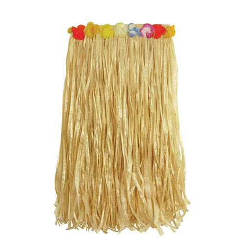 Natural Hula Skirt with Flowers Adult Hawaiian Fancy Dress Product Image