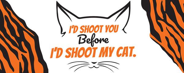 I'd Shoot You Tiger Kingdom Cat PVC Party Sign Decoration 60cm x 25cm Product Image