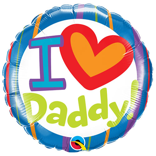 I Heart Daddy Father's Day Round Foil Helium Qualatex Balloon 46cm / 18 in