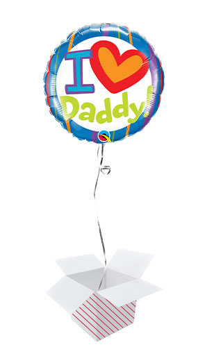 I Heart Daddy Father's Day Round Foil Helium Qualatex Balloon - Inflated Balloon in a Box