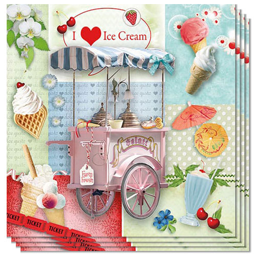 I Love Ice Cream Design Luncheon Napkins 3 Ply - 33cm - Pack of 20 Product Image