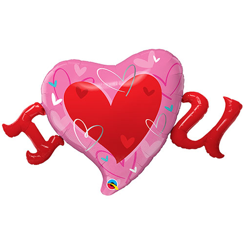 I Love U Valentine's Day Helium Foil Giant Qualatex Balloon 117cm / 46 in Product Image