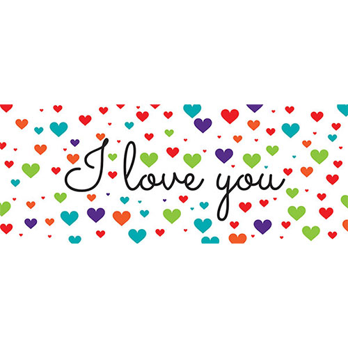 I Love You Colourful Hearts Valentines PVC Party Sign Decoration 60cm x 25cm Product Image